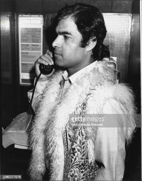 Mr Sharif Amin Lane Cove member of Afghan Society in Sydney taking on phone to officials July 13 1982