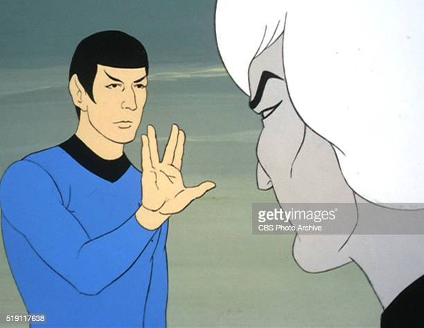 """Mr. Spock presents the Vulcan Live Long and Prosper hand sign to Commander Thelin in Star Trek: The Animated Series episode, """"Yesteryear."""" Original..."""