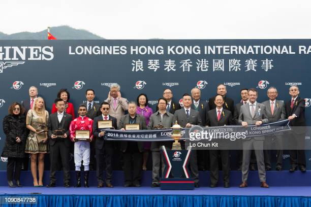 Mr Stunning's owners winning trainer Frankie Lor Fuchuen and jockey Karis Teetan celebrate after Mr Stunning winning Race 5 Longines Hong Kong Sprint...