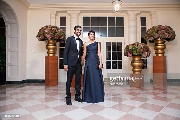 Mr Sundar Pichai Chief Executive Officer Google Inc and Ms Anjali Pichai arrive at the White House in Washington DC USA on 18 October 2016 for the...