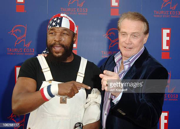 Mr. T and Lee Majors during 2005 Taurus World Stunt Awards - Arrivals at Paramount Studios in Los Angeles, California, United States.