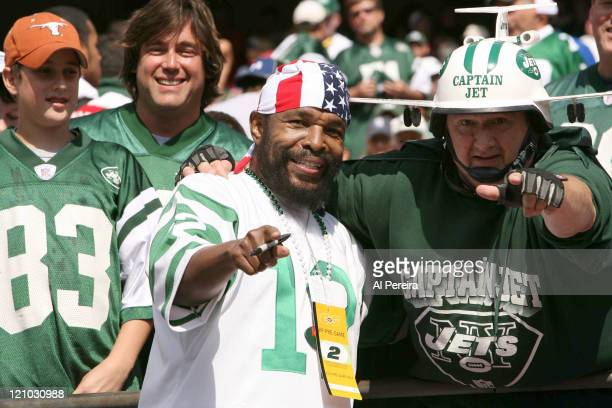 Mr T and some fans in the stands during the Jets' 3128 loss to the Indianapolis Colts @ The Meadowlands East Rutherford New Jersey October 1 2006