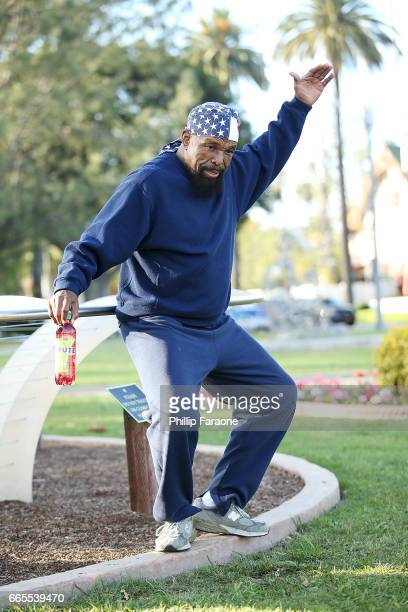 Mr T seen rehearsing in Beverly Hills with new Fuze Fusion Watermelon Iced Tea on April 6 2017 in Beverly Hills California