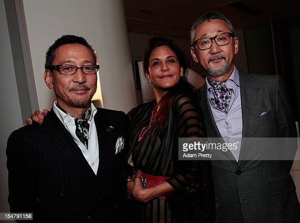 Mr Takeda of United Arrows Laurie Lynn Stark coowner of Chrome Hearts Mr Shigematsu of United Arrows enjoy the party during the ELLEgirl Night in...
