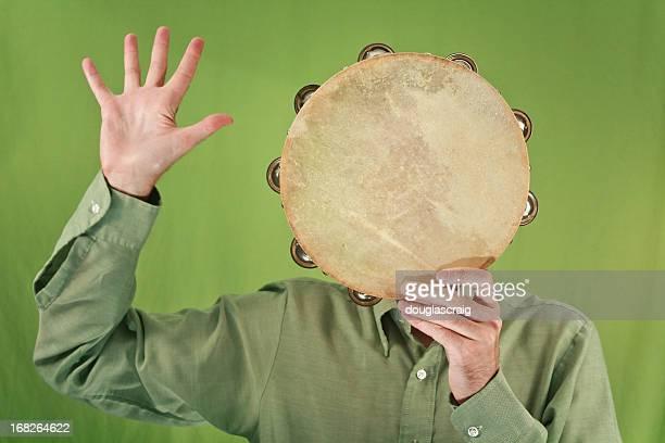 sig. tamburello uomo - tambourine foto e immagini stock