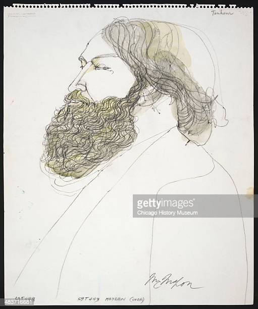 Mr Tenhour testifying in a courtroom illustration during the trial of the Chicago Eight Chicago Illinois late 1969 or early 1970 The Eight or Seven...