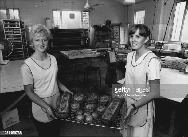 Mr Terry Hall with a selection of Mowbray pies form his factoryL to R Nikki Farrar Colin Doerty and Julie Hall Nikki February 18 1983