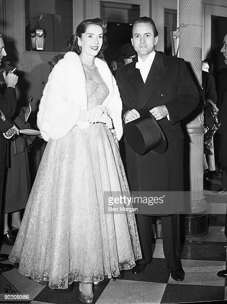 Mr Tex McCrary and his wife at the Metropolitan Opera New York City 1953 Mrs McCrary an actress is professionally known as Jinx Falkenburg
