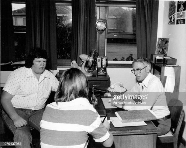 Mr Theo Van Gester Property ***** St Anne's Crisis Center sitting talking to a client while Allan Harkins looks on February 26 1979