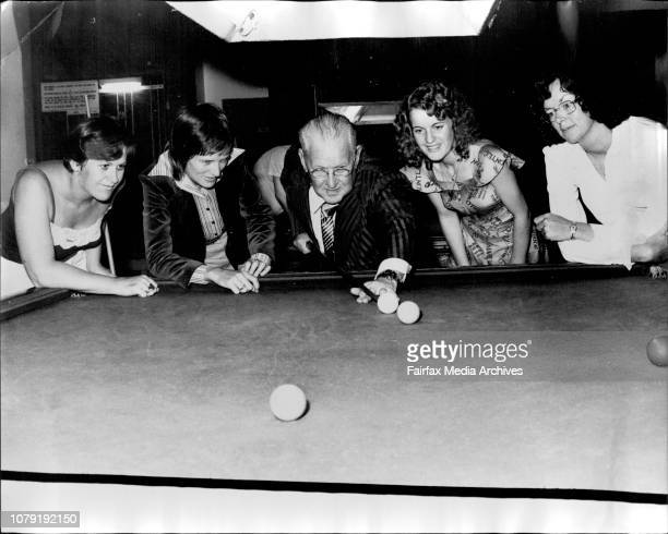 Mr Tom Cleary ex Aust Ameuter Snooker ChampFour girls who are in Sydney for the 1st women's Australian Snooker Championship to be held in the Trade...
