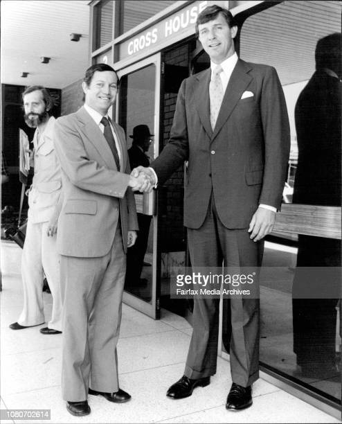 Mr Tony Whitlam and Mr Maurice Neil on the steps of the Hurstville Electoral office at noon yesterday for the declaration for the seat of St GeorgeMr...