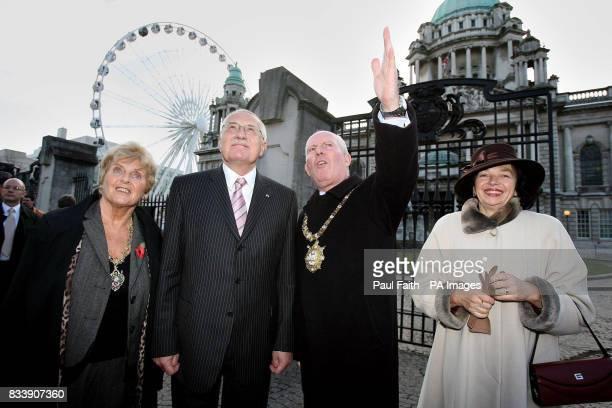 Mr Vaclav Klaus President of the Czech Republic his wife Mrs Livia Klausova Belfast Lord Mayor Jim Rodgers and Greta Rodgers Belfast Lady Mayoress in...