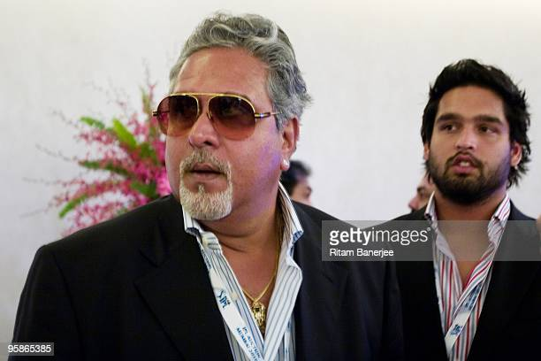 Mr Vijay Mallya coowner of Royal Challengers Bangalore attends the Indian Premier League Auction 2010 on January 19 2010 in Mumbai India