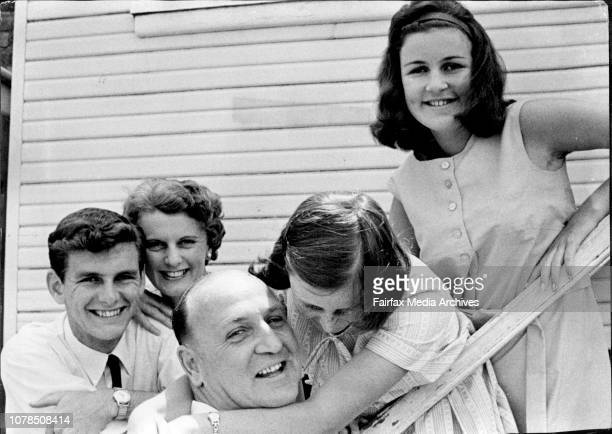 Mr W J Aston Phillip returnsMr WJ Aston of Waverley who defeated his opponent SD Einfeld is congratulated by his wife and family from left son...