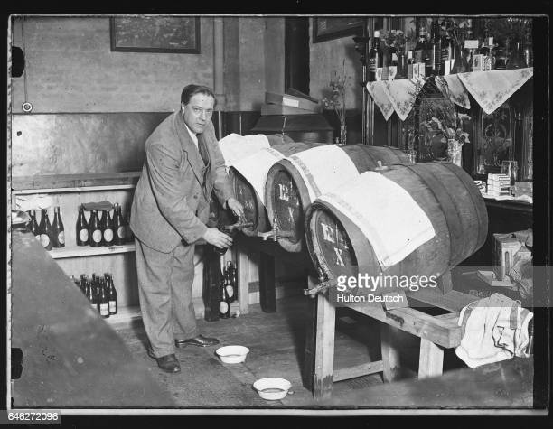 Mr W Martin at the beerbarrels from which he served royal visitors in April 1932 The Prince of Wales and Prince George made a surprise tour of the...
