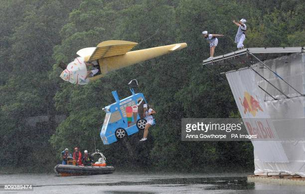 Mr Whippy and His Team of Toppings takes off during the Red Bull Flugtag event in Roundhay Park Leeds