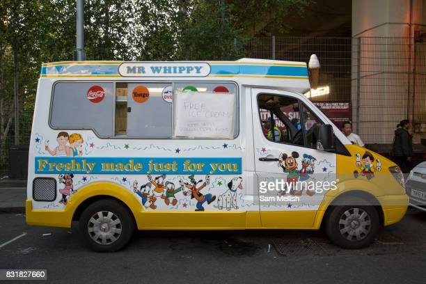 Mr Whippy ice cream van donates free ice creams on 16th June 2017 in North Kensington London United Kingdom The Grenfell Tower fire occurred on 14th...