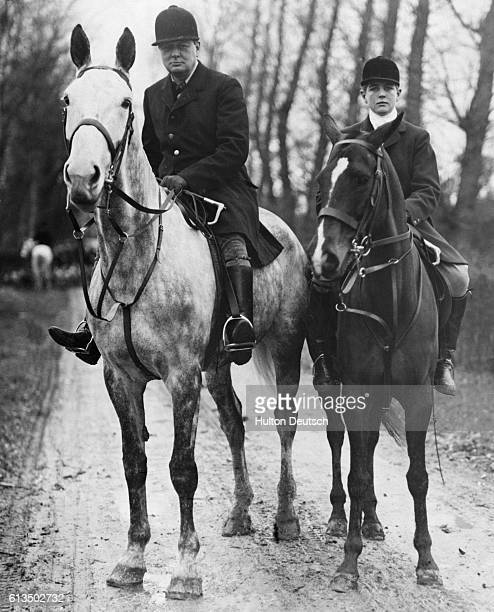 Mr Winston Churchill Chancellor of the Exchequer in Britain in the 1920s and his son Randolph hunt for boar in the forests near Dieppe France with...