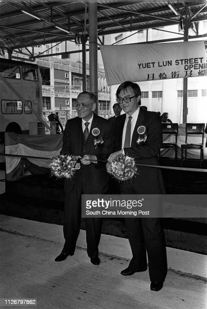Mr Woo Pakchuen the Chairman of Kowloon Motor Bus Company Limited and Mr Justine Yue Kwokhung the Deputy Secretary for Transport cut the ribbon to...