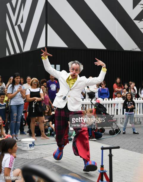 Mr Wow performing during International Busking Day at Wembley Park on July 20 2019 in London England