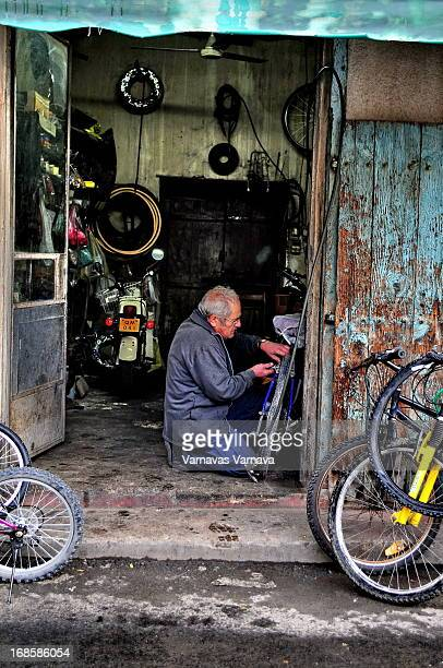 Mr. Yianni, the bicycle repair man at old Strovolos-Nicosia, Cyprus. He told me he was doing bicycle repairs in this shop since he was a very young...