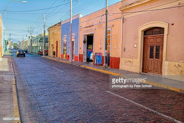mérida colonial homes and storefronts - merida mexico stock photos and pictures