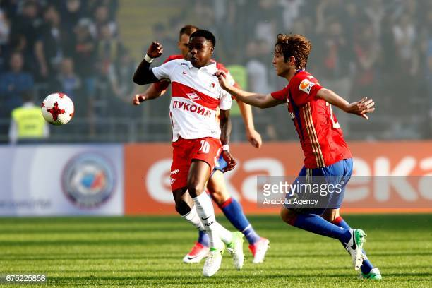 Mário Fernandes of CSKA Moscow in action against Quincy Promes of Spartak Moscow during the Russia Premiere League football match between CSKA Moscow...