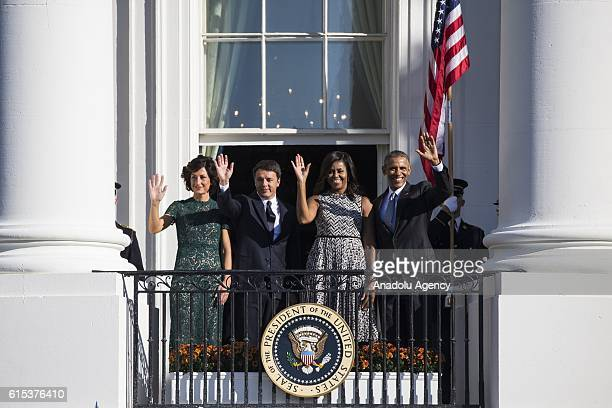 October 18: Mrs. Agnese Landini, Prime Minister Matteo Renzi, First Lady Michele Obama, and President Barack Obama wave to the crowd after the State...