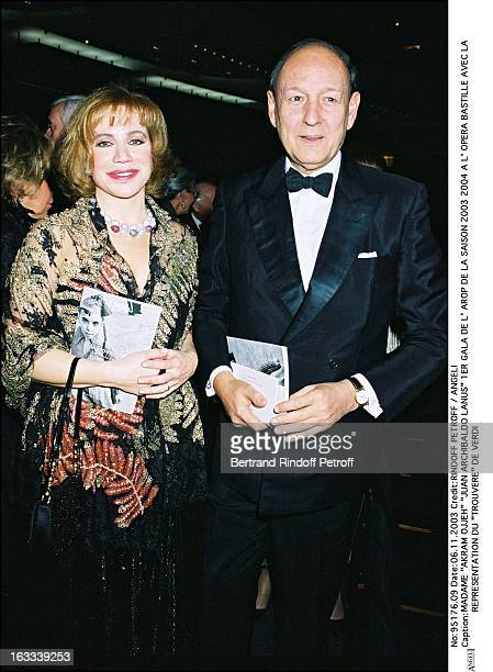 "Mrs. ""Akram Ojjeh"" ""Juan Archibaldo Lanus"" First Arop Gala of the season 2003-2004 at the Bastille opera with the performance ""Trouvere"" by Verdi."
