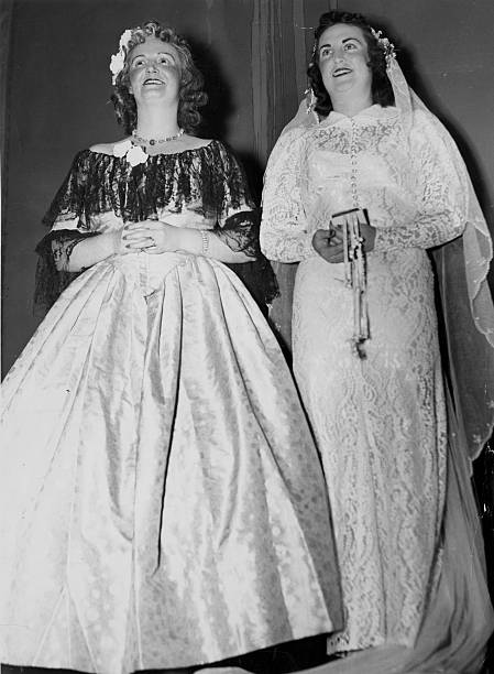 1840s Vs. 1940s Wedding Gowns Pictures | Getty Images