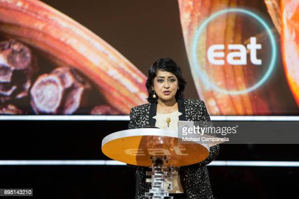 Mrs Ameenah GuribFakim president of the Republic of Mauritius gives a speech at the EAT Stockholm Food Forum at the Clarion Hotel Sign on June 12...