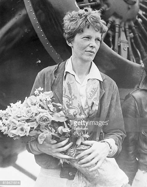 Mrs. Amelia Earhart Putnam arriving in Burbank, California.