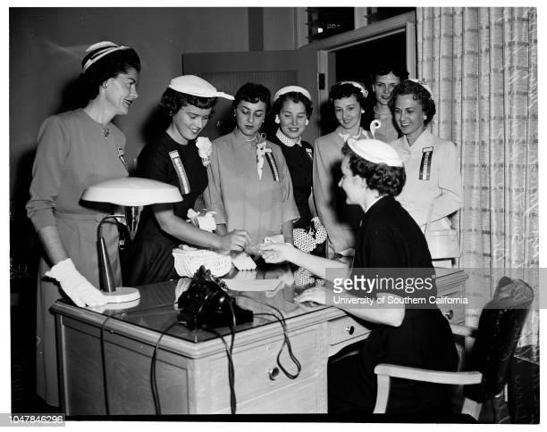 Mrs America Contest 18 April 1955 Martha BrydonLynn JohnstonMary Lou DixonAlpha SmithsonLorraine NybergLeota CainKit DavisDiane HahnCaption slip...
