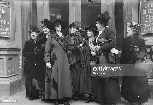 Mrs. Amos Pinchot and other women outside the Court of Special Sessions, in Brooklyn, during the trial of Margaret Sanger, indicted for her teachings...