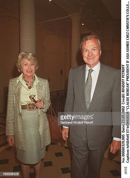 Mrs and Mr Claude Bebear chairman of Axa party at Christie's collection of the Marquis de Bath Avenue Matignon Paris