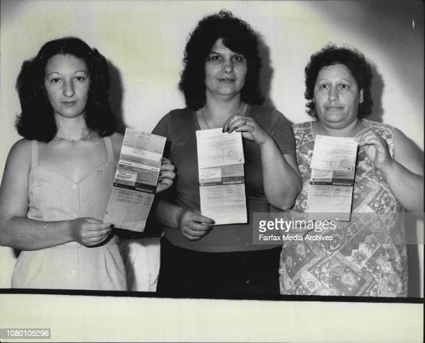 Mrs Angela Bagnato, Mrs Elizabeth Lioulis and Mrs Anna-Maria Macri all of Haberfield holding their Telecom bills they feel they shouldn't have to...