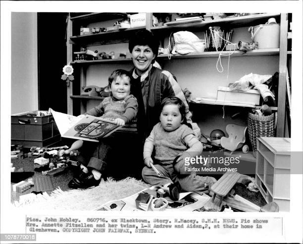 Mrs Annette Fitzellen and her twins LR Andrew and Aiden at their home in Glenhaven July 16 1986