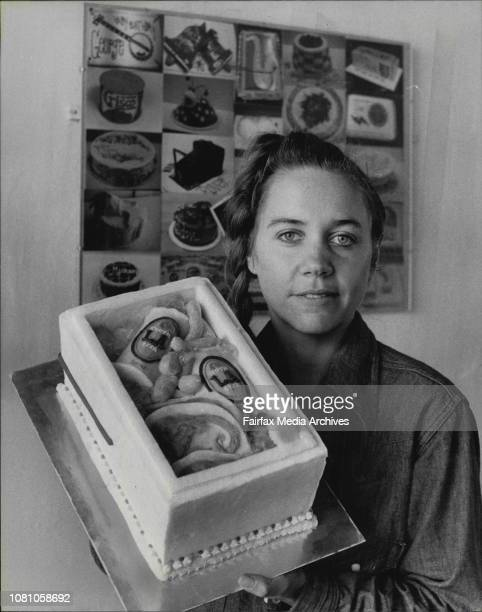 Mrs Anthea Leomard of Randwick with a cake which she made a decorated August 5 1980