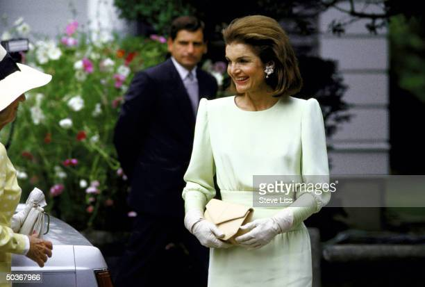 Mrs. Aristotle S. Onassis, during Caroline B. Kennedy's wedding.