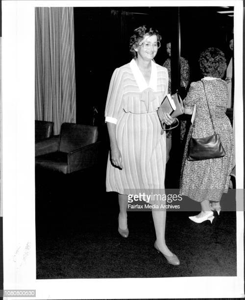 Mrs Barbara MacKay arrives at Police HQ for the Churchill fellowship fund raising launch today wife of Murdered Donald November 17 1987