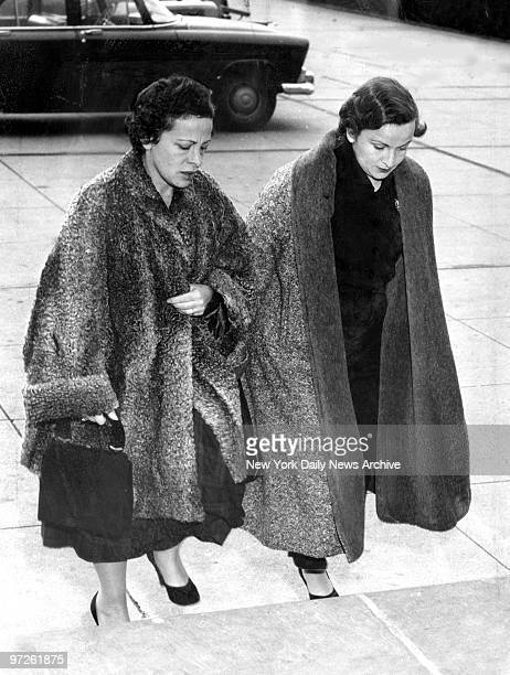 Mrs Beatrice Weinberger as she enters Nassau County Court in Mineola with unidentified woman for trial of Angelo LaMarca who kidnapped her son Peter...