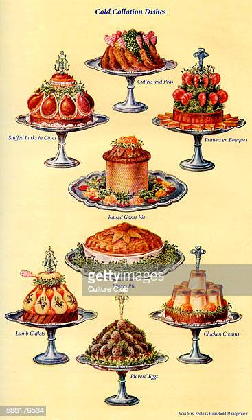 Mrs Beeton s cookery book cold collation dishes Cutlets and peas Stuffed larks in cases Prawns en bouquet Raised game pie Pigeon pie Lamb cutlets...