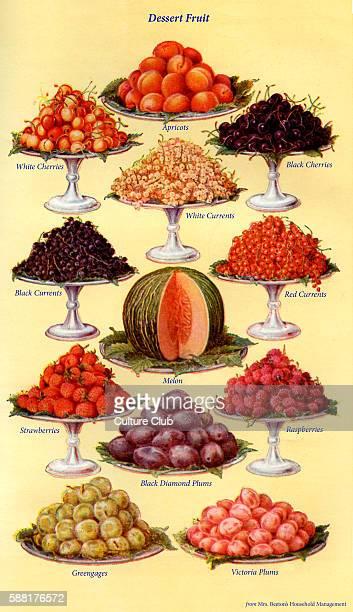 Mrs Beeton s cookery book dessert fruit Apricots White cherries Black cherries White black and red currants Melon Strawberries Raspberries Black...