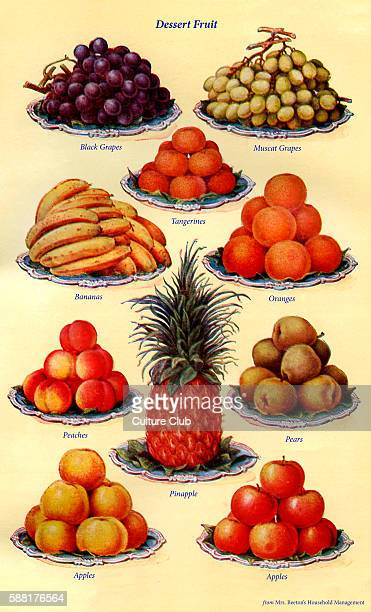 Mrs Beeton s cookery book dessert fruit Black grapes Muscat grapes Tangerines Bananas Oranges Peaches Pears Pineapple ApplesNew edition of the...