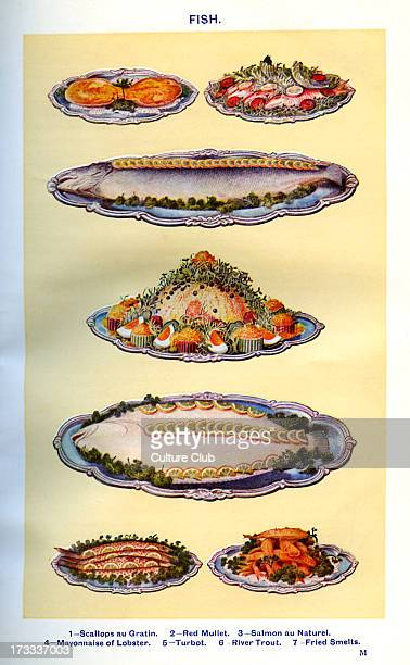 Mrs Beeton 's cookery book fish dishes Scallops au Gratin Red mullet Salmon au naturel Mayonnaise of lobster Turbot River trout Fried smelts New...
