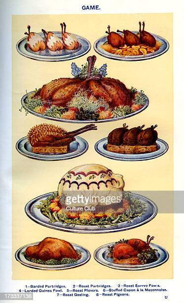 Mrs Beeton 's cookery book game dishes Barded partridges Roast partridges Roast surrey fowls Larded guinea fowl Roast plovers Stuffed capon a la...