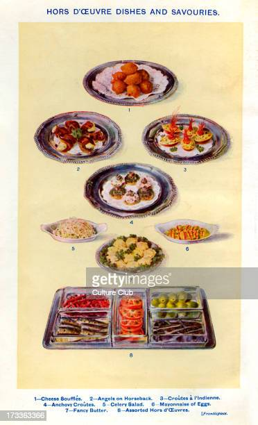 Mrs Beeton 's cookery book hors d ' oeuvre dishes and savouries Cheese souffles Angels on horseback Croutes a l 'indienne Anchovy croutes Celery...