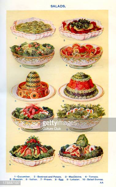 Mrs Beeton 's cookery book salads Cucumber Beetroot and potato Macedoine Tomato Russian Italian Prawn Egg Lobster Salad Dumas New edition of the...