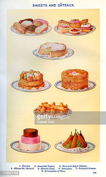 Mrs Beeton 's cookery book sweets and gateaux Eclairs Assorted pastry Rice and apple gateau Gateau St Honore Simnel cake Pancakes Pyramid cream...