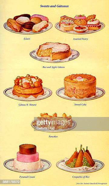 Mrs Beeton s cookery book sweets and gateaux Eclairs Assorted pastry Rice and apple gateau Gateau St Honore Simnel cake Pancakes Pyramid cream...